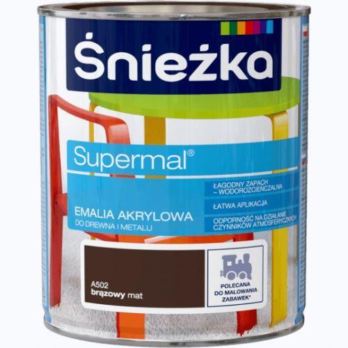 ŚNIEŻKA EMALIA AKRYLOWA UNIWERSALNA 0,8 L EKO-SUPERMAL BRĄZ MAT.