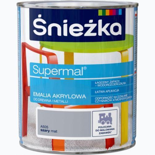 ŚNIEŻKA EMALIA AKRYLOWA UNIWERSALNA 0,8 L EKO-SUPERMAL SZARY MAT